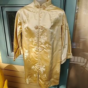 Vintage Gold Cheongsam with Frog Clasps & Dragons